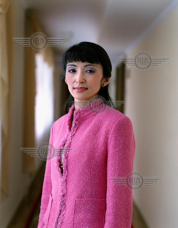 Portrait of Ms Gulmira, an employee of the Mangistau regional authorities.