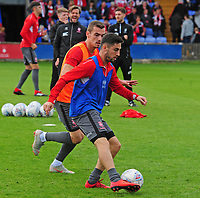Lincoln City's Harry Toffolo, left and Tom Pett during the pre-match warm-up<br /> <br /> Photographer Andrew Vaughan/CameraSport<br /> <br /> The EFL Sky Bet League One - Macclesfield Town v Lincoln City - Saturday 15th September 2018 - Moss Rose - Macclesfield<br /> <br /> World Copyright &copy; 2018 CameraSport. All rights reserved. 43 Linden Ave. Countesthorpe. Leicester. England. LE8 5PG - Tel: +44 (0) 116 277 4147 - admin@camerasport.com - www.camerasport.com