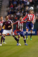 CD Chivas USA midfielder Blair Gavin (18) with a head ball. The Colorado Rapids defeated CD Chivas USA 1-0 at Home Depot Center stadium in Carson, California on Saturday March 26, 2011...