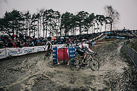 CX world champion Wout Van Aert (BEL/Crelan-Charles) leading the race in the first lap<br /> <br /> Elite Men's Recon<br /> GP Sven Nys / Belgium 2018