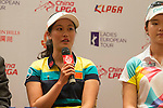 Liu Xi Yu speaks during the press conference at the beginning of World Ladies Championship 2016 on 09 March 2016 at Mission Hills Olazabal Golf Course in Dongguan, China. Photo by Victor Fraile / Power Sport Images
