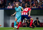 Andres Iniesta Lujan (l) of FC Barcelona fights for the ball with Juan Francisco Torres Belen, Juanfran, of Atletico de Madrid during the La Liga 2017-18 match between Atletico de Madrid and FC Barcelona at Wanda Metropolitano  on 14 October 2017 in Madrid, Spain. Photo by Diego Gonzalez / Power Sport Images