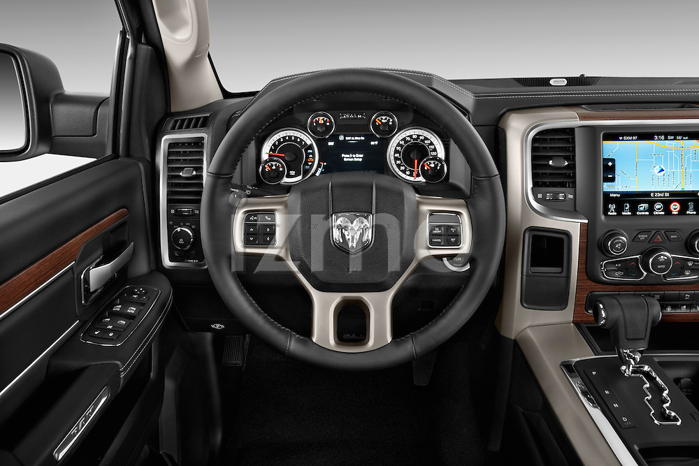 Steering wheel view of a 2013 Dodge Ram Quad Cab Laramie