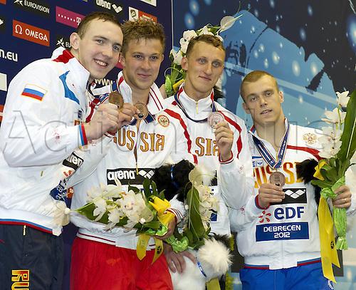 21.05.2012.  Debrecen Hungary. 4x100 Freestyle Mens RUS  Vitaly  Oleg Konovalov Nikita  Viacheslav Debrecen Hungary  European Swimming Championships 2012