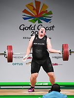 New Zealand's Laurel Hubbard.<br /> Weightlifting, Women's +90kg 2018. Carrara Sports Hall. Commonwealth Games, Gold Coast, Australia. Monday 9 April 2018. &copy; Copyright photo: Andrew Cornaga / www.photosport.nz /SWpix.com- Laurel Hubbard, formerly known as Gavin Hubbard, is a New Zealand transgender weightlifter injured today