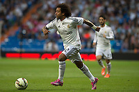 MADRID - ESPAÑA - 23-09-2014: Marcelo, jugador de Real Madrid durante partido de la Liga de España, Real Madrid y Elche en el estadio Santiago Bernabeu de la ciudad de Madrid, España. / Marcelo, player of Real Madrid during a match between Real Madrid and Elche for the Liga of Spain in the Santiago Bernabeu stadium in Madrid, Spain  Photo: Asnerp / Patricio Realpe / VizzorImage.