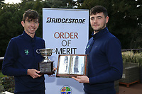 Tom McKibbin winner of the junior Bridgestone Order of Merit Rob Brazill Senior order of Merit at the presentations in the GUI National Academy, Maynooth, Kildare, Ireland. 30/11/2019.<br /> Picture Fran Caffrey / Golffile.ie<br /> <br /> All photo usage must carry mandatory copyright credit (© Golffile | Fran Caffrey)