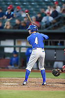 ***Temporary Unedited Reference File***Omaha Storm Chasers second baseman Whit Merrifield (4) during a game against the Memphis Redbirds on May 5, 2016 at AutoZone Park in Memphis, Tennessee.  Omaha defeated Memphis 5-3.  (Mike Janes/Four Seam Images)