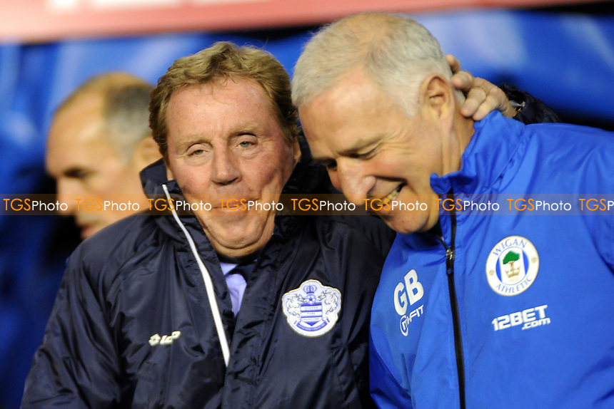 Queens Park Rangers manager Harry Redknapp meets Wigan's first team coach Graham Barrow - Wigan Athletic vs QPR - Sky Bet Champiosnhip Football at the DW Stadium, Wigan - 30/10/13 - MANDATORY CREDIT: Greig Bertram/TGSPHOTO - Self billing applies where appropriate - 0845 094 6026 - contact@tgsphoto.co.uk - NO UNPAID USE