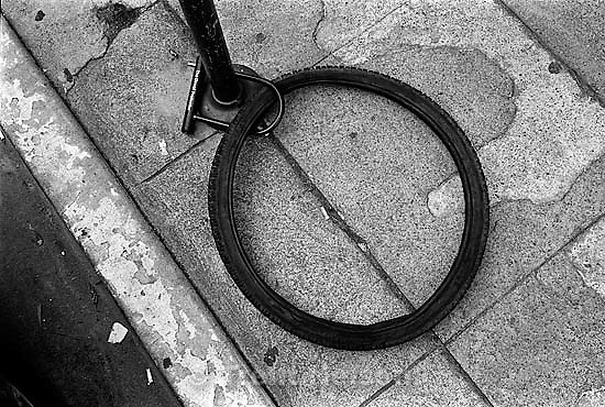 Bike tire locked up.   photo by Trent Nelson<br />