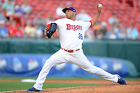Buffalo Bisons pitcher Ricky Romero #39 during a game against the Durham Bulls on June 24, 2013 at Coca-Cola Field in Buffalo, New York.  Durham defeated Buffalo 7-1.  (Mike Janes/Four Seam Images)