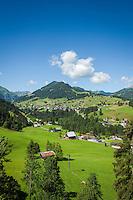 Austria, Vorarlberg, Kleinwalsertal, Hirschegg: view from Kanzelwand cable car towards village Hirschegg | Oesterreich, Vorarlberg, Kleinwalsertal, Hirschegg: Blick aus der Kanzelwandbahn nach Hirschegg