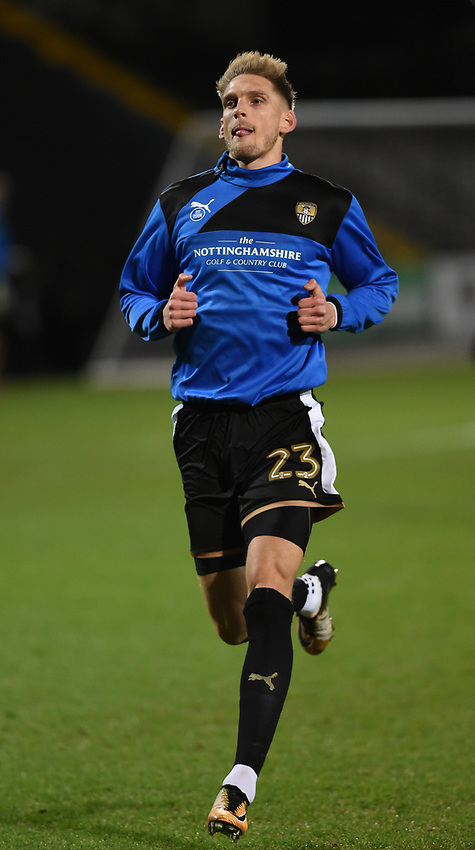 Notts County's Daniel Jones during the pre-match warm-up <br /> <br /> Photographer Jon Hobley/CameraSport<br /> <br /> The EFL Sky Bet League Two - Notts County v Crawley Town - Tuesday 23rd January 2018 - Meadow Lane - Nottingham<br /> <br /> World Copyright &copy; 2018 CameraSport. All rights reserved. 43 Linden Ave. Countesthorpe. Leicester. England. LE8 5PG - Tel: +44 (0) 116 277 4147 - admin@camerasport.com - www.camerasport.com