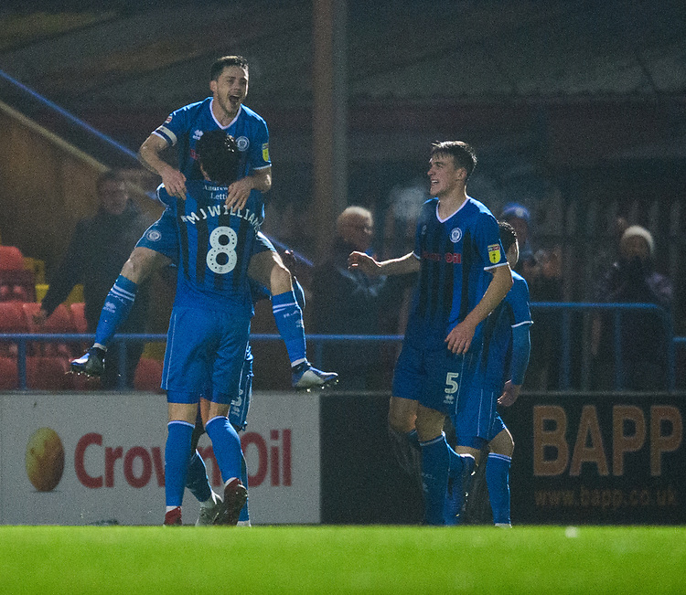 Rochdale's Ian Henderson celebrates scoring his side's second goal with team-mate Jordan Williams<br /> <br /> Photographer Chris Vaughan/CameraSport<br /> <br /> The EFL Sky Bet League One - Rochdale v Blackpool - Wednesday 26th December 2018 - Spotland Stadium - Rochdale<br /> <br /> World Copyright © 2018 CameraSport. All rights reserved. 43 Linden Ave. Countesthorpe. Leicester. England. LE8 5PG - Tel: +44 (0) 116 277 4147 - admin@camerasport.com - www.camerasport.com