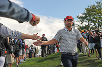 Kevin Chappell (USA) shakes hands on his way to 4 during round 3 Four-Ball of the 2017 President's Cup, Liberty National Golf Club, Jersey City, New Jersey, USA. 9/30/2017.<br /> Picture: Golffile | Ken Murray<br /> <br /> All photo usage must carry mandatory copyright credit (&copy; Golffile | Ken Murray)