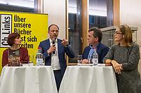 """Buchvorstellung """"Unter Sachsen - Zwischen Wut und Willkommen"""" in Berlin.<br /> Der Sammelband aus dem Christoph Links-Verlag zum Thema Rassismus und rechter Gewalt im Freistaat Sachsen, herausgegeben von der freien Journalistin Heike Kleffner und dem Tagesspiegel-Redakteur Matthias Meisner, wurde am Donnerstag den 30. Maerz 2017 in Berlin vorgestellt.<br /> Auf dem Podium diskutierten der saechsische Vize-Ministerpraesident Martin Dulig (SPD), der saechsische CDU-MdB Marco Wanderwitz, die Linken-Chefin Katja Kipping gemeinsam mit dem Verleger Christoph Link, den Herausgebern Heike Kleffner und Matthias Meisner sowie zwei der 40 Autoren - Michael Bittner und Imran Ayata - ueber das Buch.<br /> In dem Buch suchen die Herausgeber Antworten auf die Frage warum und wie es zu den """"saechsischen Verhaeltnissen"""" kommen konnte. Mit 477 offiziell dokumentierten  fremdenfeindlich motivierte Gewalttaten im Jahr 2015 liegt Sachsen, in Bezug auf die Einwohnerzahl, bundesweit an der Spitze.<br /> Die Landesvertretung des Freistaat Sachsen hatte es abgelehnt die Buchvorstellung in ihren Raeumen stattfinden zu lassen, so dass der Verlag den Sammelband vor ca. 250 Gaesten in der Landesvertretung Thueringen praesentierte.<br /> Im Bild vlnr.: Katja Kipping, Marco Wanderwitz, Matthias Meisner, Heike Kleffner.<br /> 30.3.2017, Berlin<br /> Copyright: Christian-Ditsch.de<br /> [Inhaltsveraendernde Manipulation des Fotos nur nach ausdruecklicher Genehmigung des Fotografen. Vereinbarungen ueber Abtretung von Persoenlichkeitsrechten/Model Release der abgebildeten Person/Personen liegen nicht vor. NO MODEL RELEASE! Nur fuer Redaktionelle Zwecke. Don't publish without copyright Christian-Ditsch.de, Veroeffentlichung nur mit Fotografennennung, sowie gegen Honorar, MwSt. und Beleg. Konto: I N G - D i B a, IBAN DE58500105175400192269, BIC INGDDEFFXXX, Kontakt: post@christian-ditsch.de<br /> Bei der Bearbeitung der Dateiinformationen darf die Urheberkennzeichnung in den EXIF- und  IPTC-Daten nicht"""