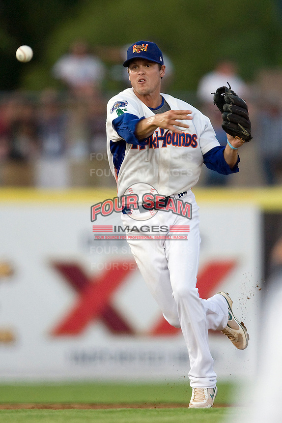 Midland Rockhounds shortstop Grant Green #9 throws to first at the Texas League All Star Game played on June 29, 2011 at Nelson Wolff Stadium in San Antonio, Texas. The South defeated the North 3-2 in the contest. (Andrew Woolley / Four Seam Images)