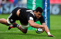 Hapakuki Moala Liava'a of New Zealand U20 runs in a try. World Rugby U20 Championship 5th Place Play-Off between Australia U20 and New Zealand U20 on June 25, 2016 at the AJ Bell Stadium in Manchester, England. Photo by: Patrick Khachfe / Onside Images