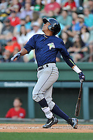 Shortstop Milton Ramos (7) of the Columbia Fireflies bats in a game against the Greenville Drive on Saturday, April 23, 2016, at Fluor Field at the West End in Greenville, South Carolina. Columbia won, 7-3. (Tom Priddy/Four Seam Images)