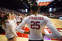 STANFORD, CA - December 1, 2017: Courtney Bowen, Sidney Wilson at Maples Pavilion. The Stanford Cardinal defeated the CSU Bakersfield Roadrunners 3-0 in the first round of the NCAA tournament.