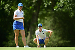 HOUSTON, TX - MAY 19: Olivia Reed of Grand Valley State looks at a putt with her coach Rebecca Mailloux during the Division II Women's Golf Championship held at Bay Oaks Country Club on May 19, 2018 in Houston, Texas. (Photo by Justin Tafoya/NCAA Photos via Getty Images)