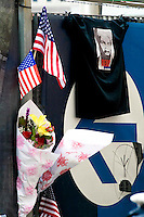 A fence along the construction site at Ground Zero the day after Osama bin Laden was killed.