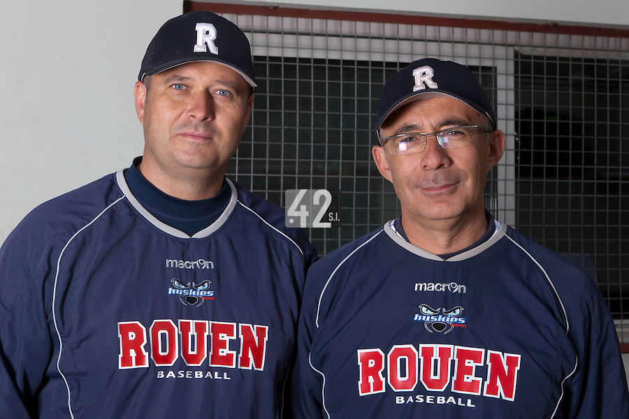 14 July 2011: Team manager Robin Roy of the Rouen Huskies and Coach Francois Colombier pose prior to the 2011 Challenge de France match won 15-0 by the Rouen Huskies over the Stade Toulousain at Stade Pierre Rolland, in Rouen, France.