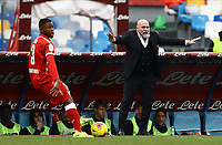 14th January 2020; Stadio San Paolo, Naples, Campania, Italy; Coppa Italia Football, Napoli versus Perugia; Serse Cosmi, coach of Perugia sends in instructions to his team during the game - Editorial Use