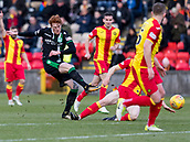 2nd December 2017, Firhill Stadium, Glasgow, Scotland; Scottish Premiership football, Partick Thistle versus Hibernian; Simon Murray of Hibernian gets his shot away