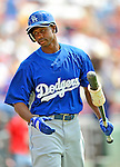 15 March 2008: Los Angeles Dodgers' outfielder Juan Pierre awaits his turn at-bat during a Spring Training game against the Washington Nationals at Space Coast Stadium, in Viera, Florida...Mandatory Photo Credit: Ed Wolfstein Photo