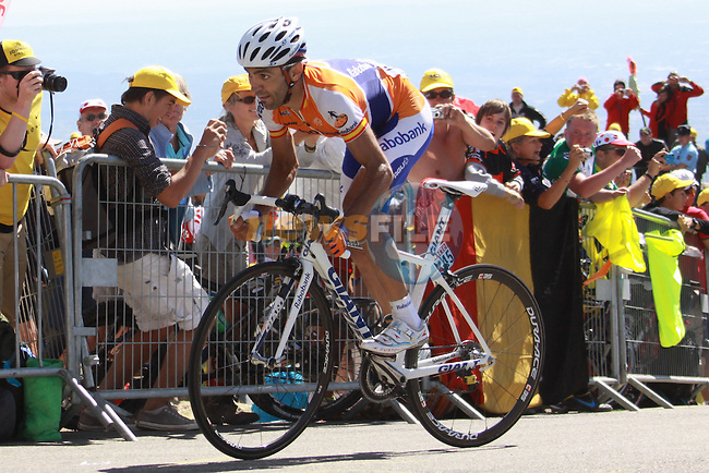 Juan Manuel Garate turns the last corner on the way to winning the penultimate stage to the Mont Ventoux in the 2009 Tour de France, 25th July 2009 (Photo by Manus OReilly/NEWSFILE)