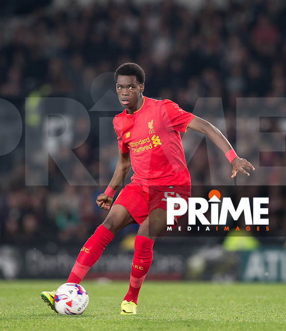 Oviemuno Ejaria of Liverpool in action during the EFL Cup match between Derby County and Liverpool at the Ipro Stadium, Derby, England on 20 September 2016. Photo by Andy Rowland.