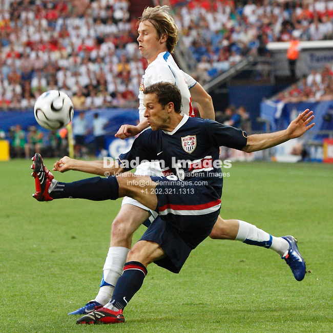 GELSENKIRCHEN, GERMANY - JUNE 12:  Steve Cherundolo of the United States (6) clears the ball during a FIFA World Cup soccer match against the Czech Republic June 12, 2006 in Gelsenkirchen, Germany.  (Photograph by Jonathan P. Larsen)