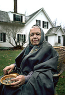 November 20th 1979. Mount Desert Island, Maine, USA. French writer Marguerite Yourcenar, the first woman to be elected to the Academie Francaise in 1980, at the house: Petite Plaisance.