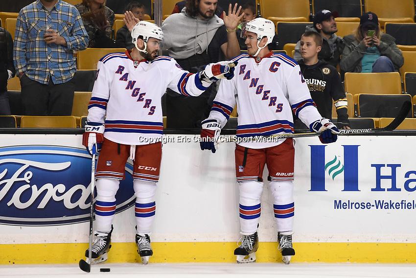 September 24, 2015 - Boston, Massachusetts, U.S. - New York Rangers defenseman Keith Yandle (93) (left) and defenseman Ryan McDonagh (27) (right) talk before the NHL game between the New York Rangers and the Boston Bruins held at TD Garden, in Boston, Massachusetts. Eric Canha/CSM