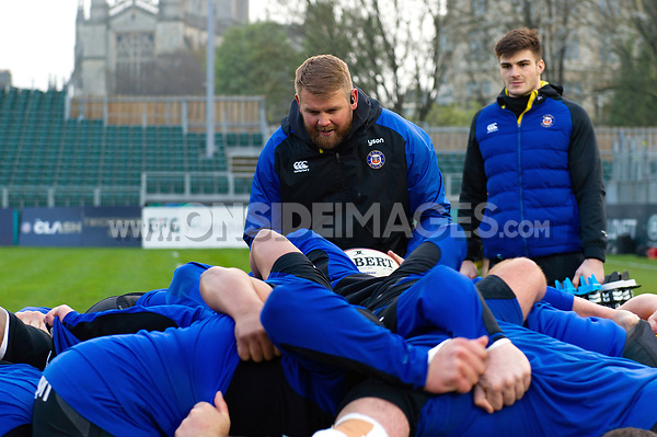 Bath Rugby coach Mark Lilley in action during the pre-match warm-up. Premiership Rugby Shield match, between Bath United and Gloucester United on April 8, 2019 at the Recreation Ground in Bath, England. Photo by: Patrick Khachfe / Onside Images