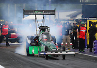 Apr 29, 2016; Baytown, TX, USA; NHRA top fuel driver Kebin Kinsley during qualifying for the Spring Nationals at Royal Purple Raceway. Mandatory Credit: Mark J. Rebilas-USA TODAY Sports
