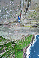 Dave Macleod on the crux pitch of the 'Longhope Route Direct' E11 7a, St John's Head, Hoy