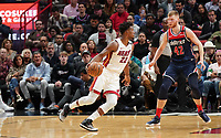 Jimmy Butler (G/F Miami Heat, #22) gegen David Bertans (F, Washington Wizards, #42) - 22.01.2020: Miami Heat vs. Washington Wizards, American Airlines Arena