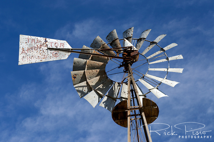 Windmill at Telegraph City in Calaveras County, California.