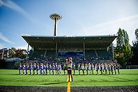 Seattle, WA - Sunday, April 17, 2016: The Seattle Reign FC and Sky Blue FC line up for the playing of the national anthem prior to a National Women's Soccer League (NWSL) match at Memorial Stadium.