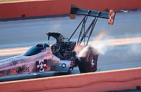 Oct 20, 2019; Ennis, TX, USA; NHRA top fuel driver Mike Salinas during the Fall Nationals at the Texas Motorplex. Mandatory Credit: Mark J. Rebilas-USA TODAY Sports