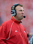 MADISON, WI - SEPTEMBER 29: Head coach Bret Bielema of the Wisconsin Badgers looks on during the game against the Michigan State Spartans at Camp Randall Stadium on September 29, 2007 in Madison, Wisconsin. The Badgers beat the Spartans 37-34. (Photo by David Stluka)