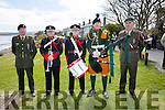 Military Color at the Commemoration at Valentia on Sunday for the unveiling of a plaque to the Ring brothers and Rosalie Rice pictured here l-r; Sergeant Des O'Sullivan, Sergeant Roy Kelleher, Bandsman Kevin Power, Private Paudie Bourke & Captain Tim Casey.