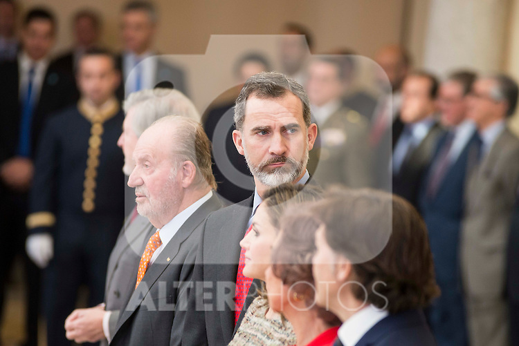 King Juan Carlos and King Felipe VI of Spain attends to the National Sports Awards 2015 at El Pardo Palace in Madrid, Spain. January 23, 2017. (ALTERPHOTOS/BorjaB.Hojas)
