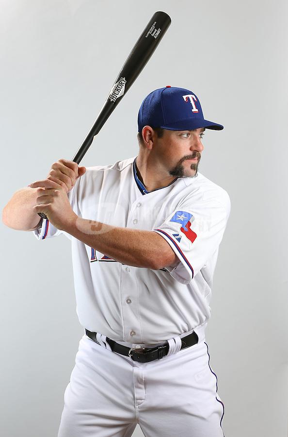 Feb. 20, 2013; Surprise, AZ, USA: Texas Rangers catcher Konrad Schmidt poses for a portrait during photo day at Surprise Stadium. Mandatory Credit: Mark J. Rebilas-
