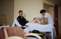 Sep Vanmarcke (BEL/LottoNL-Jumbo) at massage back in the team hotel after the Ronde van Vlaanderen 2016 recon