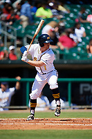Montgomery Biscuits second baseman Riley Unroe (1) at bat during a game against the Mississippi Braves on April 25, 2017 at Montgomery Riverwalk Stadium in Montgomery, Alabama.  Mississippi defeated Montgomery 3-2.  (Mike Janes/Four Seam Images)