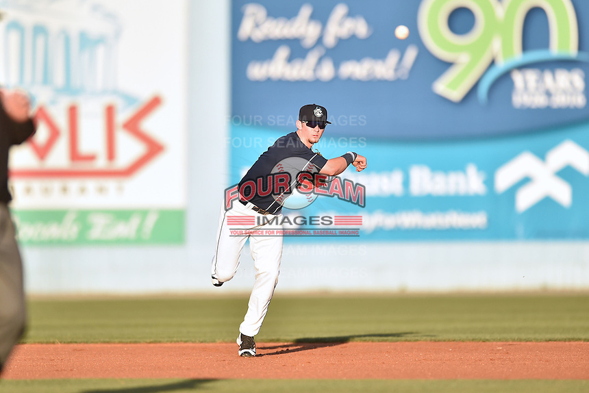 Asheville Tourists shortstop Brendan Rodgers (1) during a game against the Rome Braves at McCormick Field on April 14, 2016 in Asheville, North Carolina. The Tourists defeated the Braves 5-4. (Tony Farlow/Four Seam Images)