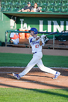 Logan Landon (43) of the Ogden Raptors at bat against the Idaho Falls Chukars in Pioneer League action at Lindquist Field on June 23, 2015 in Ogden, Utah.Idaho Falls beat the Raptors 9-6. (Stephen Smith/Four Seam Images)